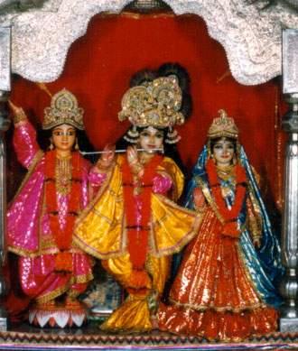 Šrī Šrī Rādhā-Krišnas un Šrī Čaitanjas Mahāprabhu Dievības